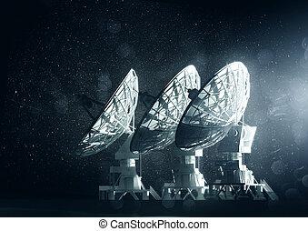 groot, radio, groep, telescopen