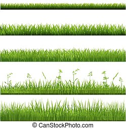 groot, randjes, gras, set