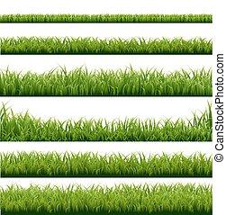 groot, randjes, set, groen gras