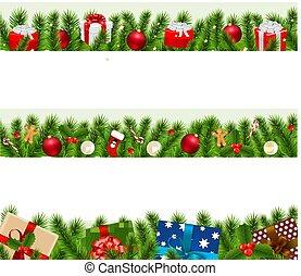 groot, randjes, set, kerstmis