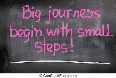 groot, reizen, beginnen, met, kleine, stappen, concept