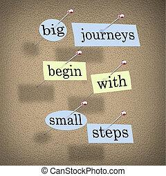 groot, reizen, beginnen, met, kleine, stappen