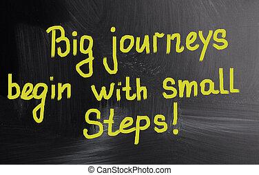 groot, reizen, beginnen, met, kleine, steps!