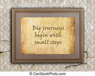 groot, reizen, kleine, stappen