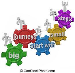 groot, reizen, start, met, kleine, stappen, mensen, het marcheren, op, beklimming