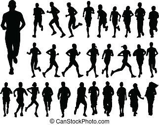 groot, rennende , verzameling, mensen