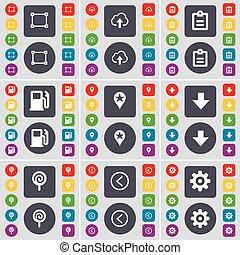 groot, richtingwijzer, set, wolk, plat, frame, controlepost, gas, symbool., onderzoeken; inspecteren;, knopen, station, vector, dons, tandwiel, links, lollipop, design., gekleurde, jouw, pictogram