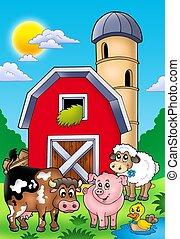 groot, rode schuur, met, boerderijdieren