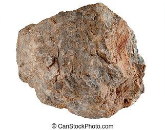 groot, rotssteen, vrijstaand, op, een, witte , achtergrond.