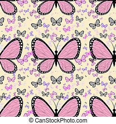 groot, roze, vlinder, omringde, door, kleine, veelkleurig, vlinder, op, een, pastel achtergrond