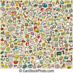 groot, school, opleiding, verzameling, iconen