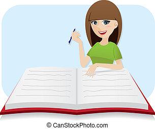 groot, schrijvende , dagboek, meisje, spotprent, smart