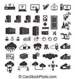 groot, set, data, iconen