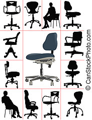 groot, set, illustraties, van, kantoor, ch