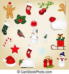 groot, set, kerstmis, iconen