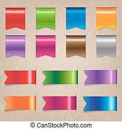 groot, set, kleurrijke, lint