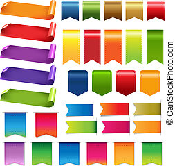 groot, set, linten, kleurrijke, etiket