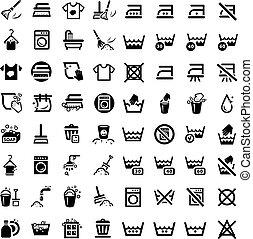 groot, set, poetsen, iconen