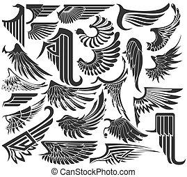 groot, set, schetsen, van, vleugels