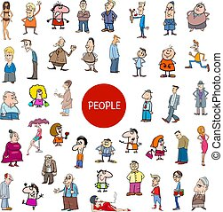 groot, set, spotprent, karakters, mensen