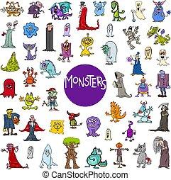 groot, set, spotprent, karakters, monster