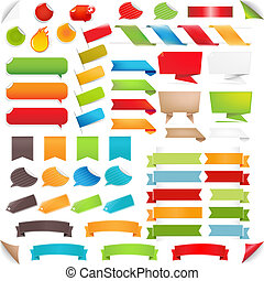 groot, set, tekstballonetje, en, kleurrijke, etiketten