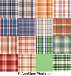 groot, set., textuur, textiel, vector, tartan