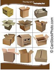 groot, set, van, karton, verpakking, dozen