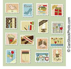 groot, set, van, postzegels