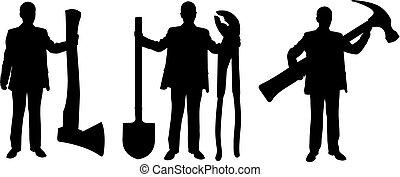 groot, silhouettes, gereedschap, vasthouden, mensen