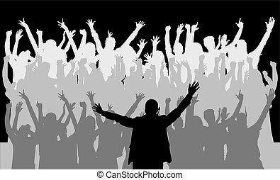 groot, silhouettes., group., dancing, mensen