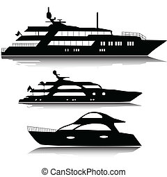 groot, silhouettes, vector, jachtboten