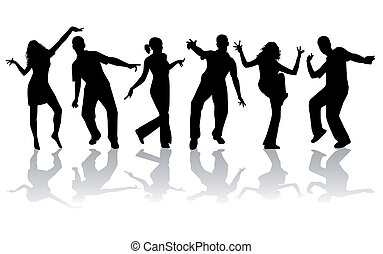 groot, silhouettes, -, verzameling, dancing
