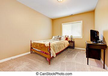 Muren, groot, venster, beige, slaapkamer, emppty. Nieuw,... beelden ...
