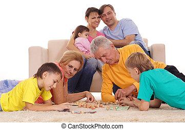 groot, spelend, gezin