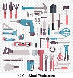 groot, spotprent, bouwmateriaal, set, vector, plat, thuis, gereedschap, pictogram, style., repair.