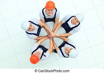 groot, staand, werkmannen , groep