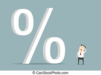 groot, symbool, procent, op, het kijken, zakenman
