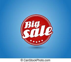 groot, teken., verkoop, rood, plank