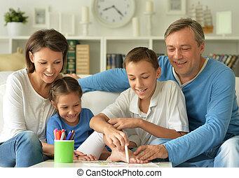 groot, tekening, gezin, vrolijke