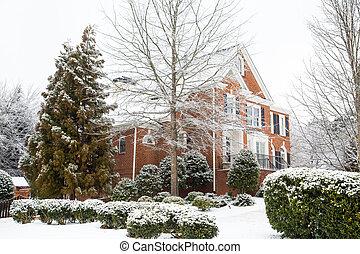 groot, thuis, baksteen, sneeuw