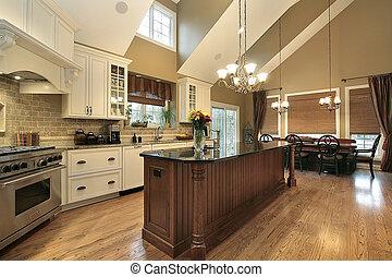 groot, thuis, luxe, keuken