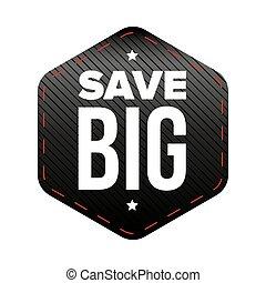 groot, vector, lappen, sparen