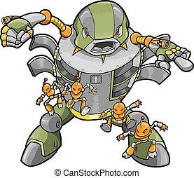 groot, vector, robot, illustratie