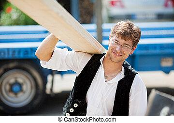 groot, verdragend, hout, timmerman, plank