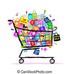 groot, verkoop, concept, met, het winkelen zakken, in, mand, voor, jouw, ontwerp