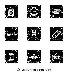 groot, verkoop, iconen, set, grunge, stijl