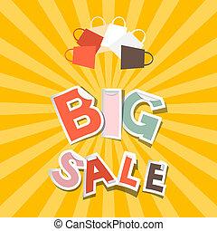groot, verkoop, papier, titel, op, retro, sinaasappel, -, gele achtergrond, met, het winkelen zakken