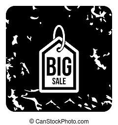 groot, verkoop, pictogram, grunge, stijl