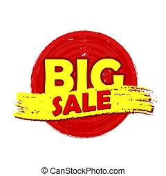 groot, verkoop, ronde, getrokken, etiket